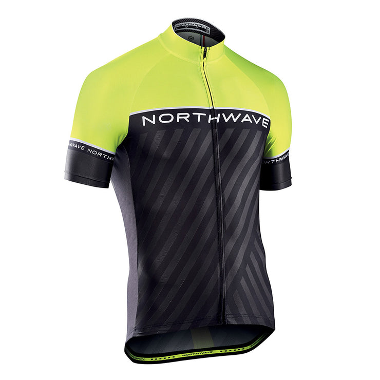 Northwave Logo 3 CyclingJersey -Black-Yellow Fluo - Cyclop.in