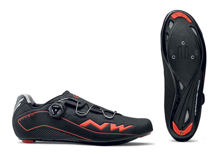 Northwave Flash Shoes-Black/Lobster Orange - Cyclop.in