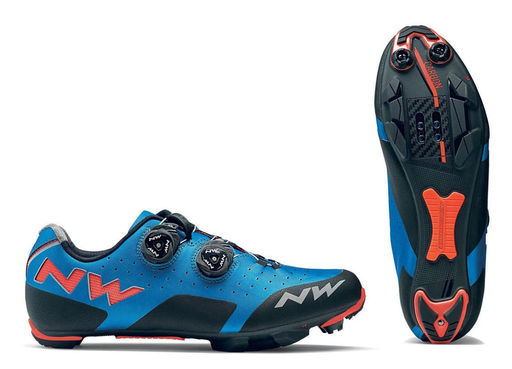 Northwave Rebel Shoes-Blue/Lobster Orange - Cyclop.in