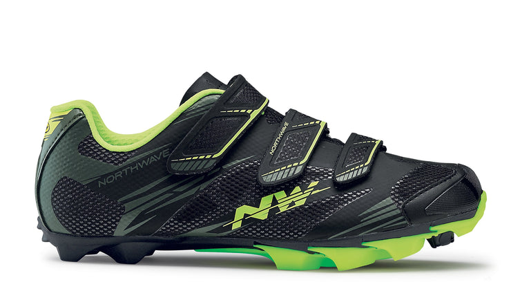Northwave Scorpius 2 Shoes-Black/Mil/Yellow Fluo - Cyclop.in
