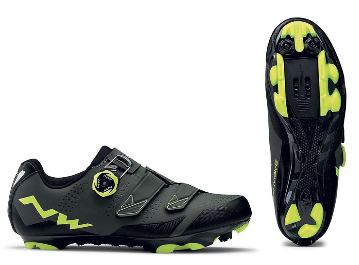 Northwave Scream 2 SRS Shoes-Black/Grey/Yellow Fluo - Cyclop.in