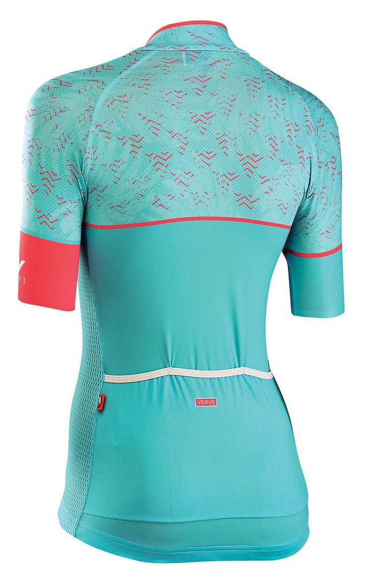 Northwave Women Verve 3 CyclingJersey -Light Green-Lobster Orange - Cyclop.in