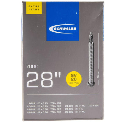 Schwalbe Road Tube Sv20700 X 18C 28C 80Mm Presta Valve Extra Light - Cyclop.in