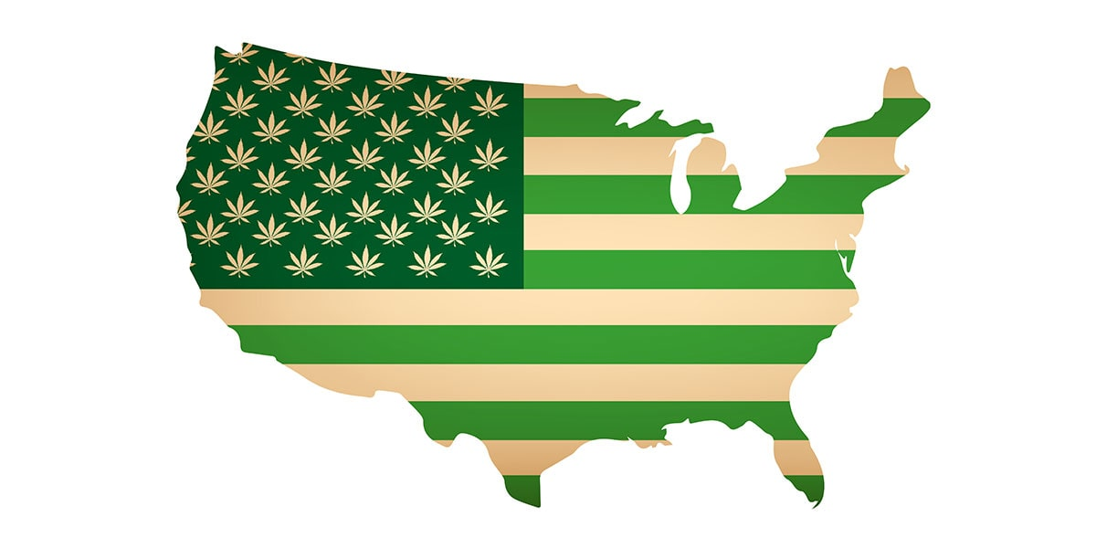 united states cannabis flag on top of country