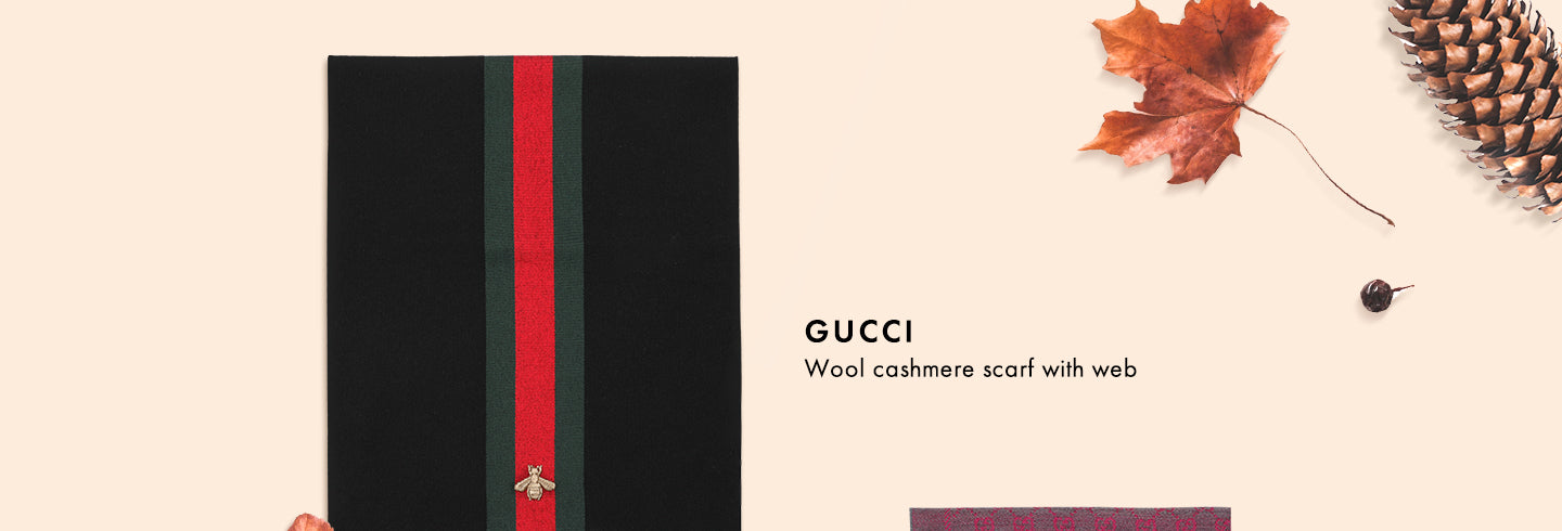 Gucci Wool Cashmere Scarf with Web | Mia-Maia.com