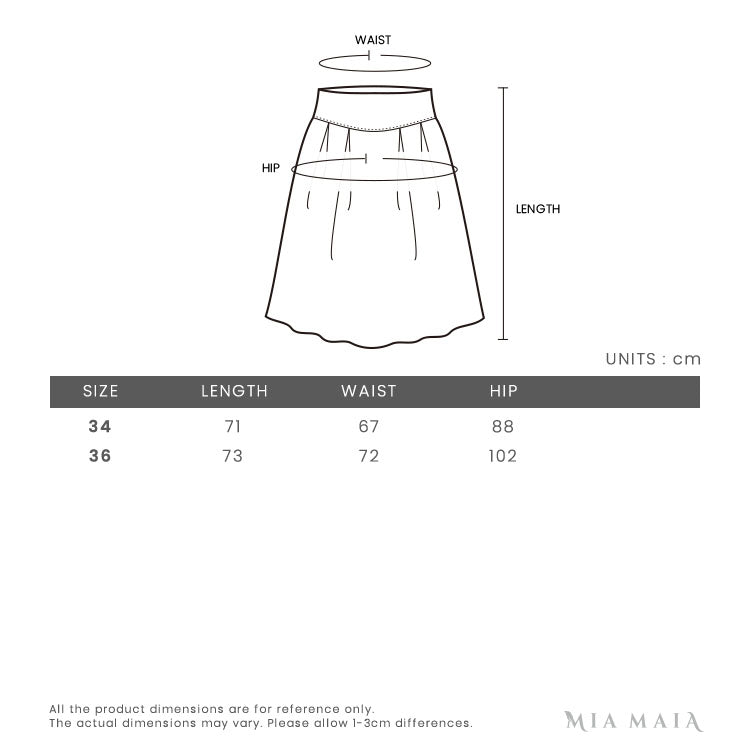Acne Studios Pleated Skirt Black | Size Chart | Mia-Maia.com