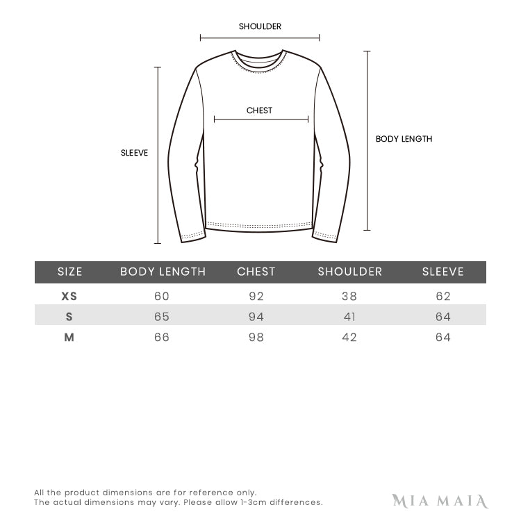 Size Chart of Chiara Ferragni T-shirt Long Sleeve Flirting