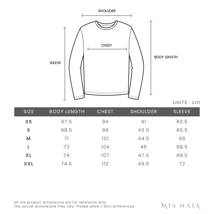 Emporio Armani City Press Two-side Reversible Padded Jacket | Size Chart | Mia-Maia.com