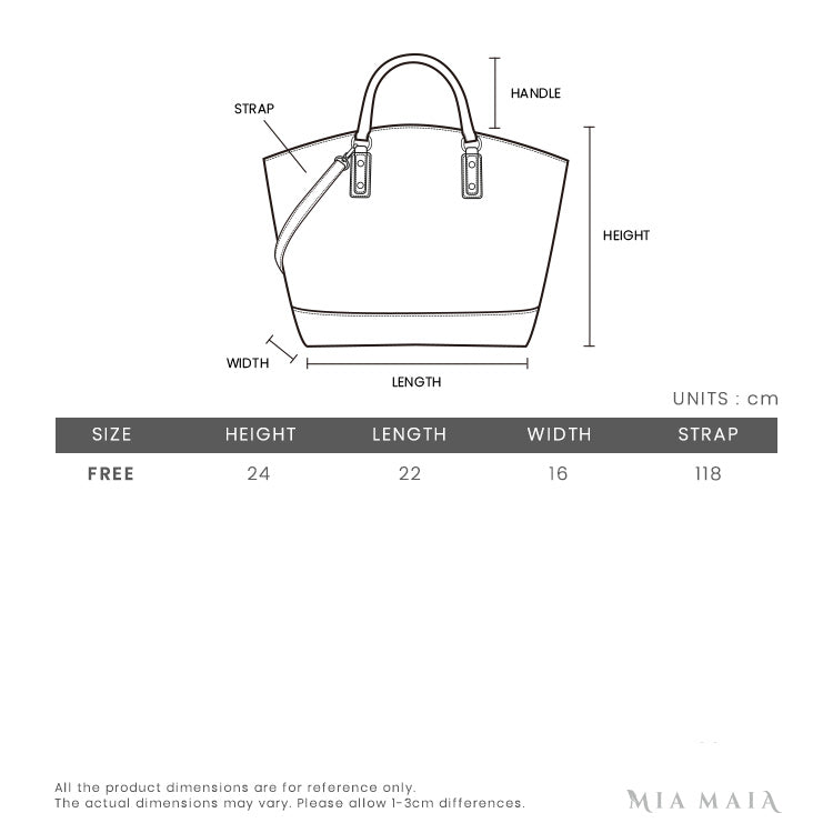 Furla Corona Bucket Bag S in Grainy Leather | Size Chart | Mia-Maia.com