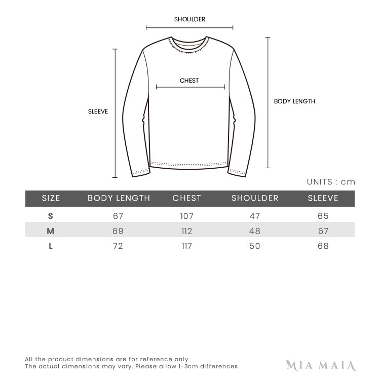 Machine Clinton Triple Color Hoody | Size Chart | Mia-Maia.com