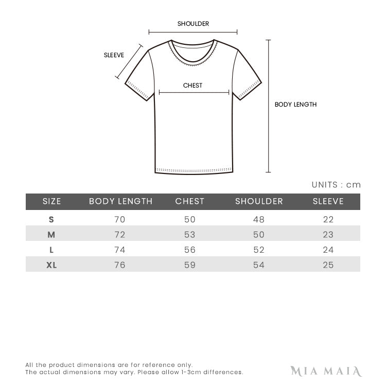 Pressure Printed S/S T-shirt | Size Chart