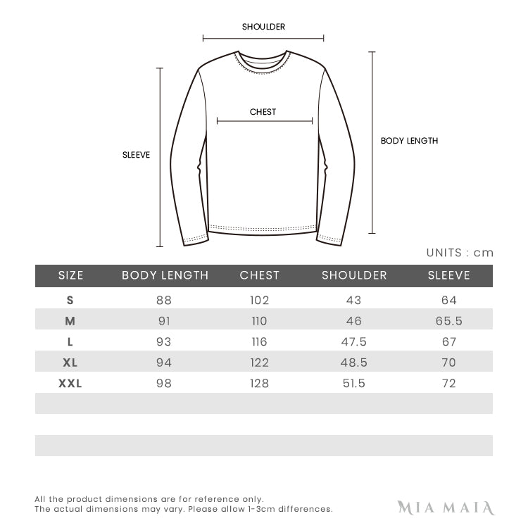 Sail Racing Race Down Coat | Size Chart | Mia-Maia.com