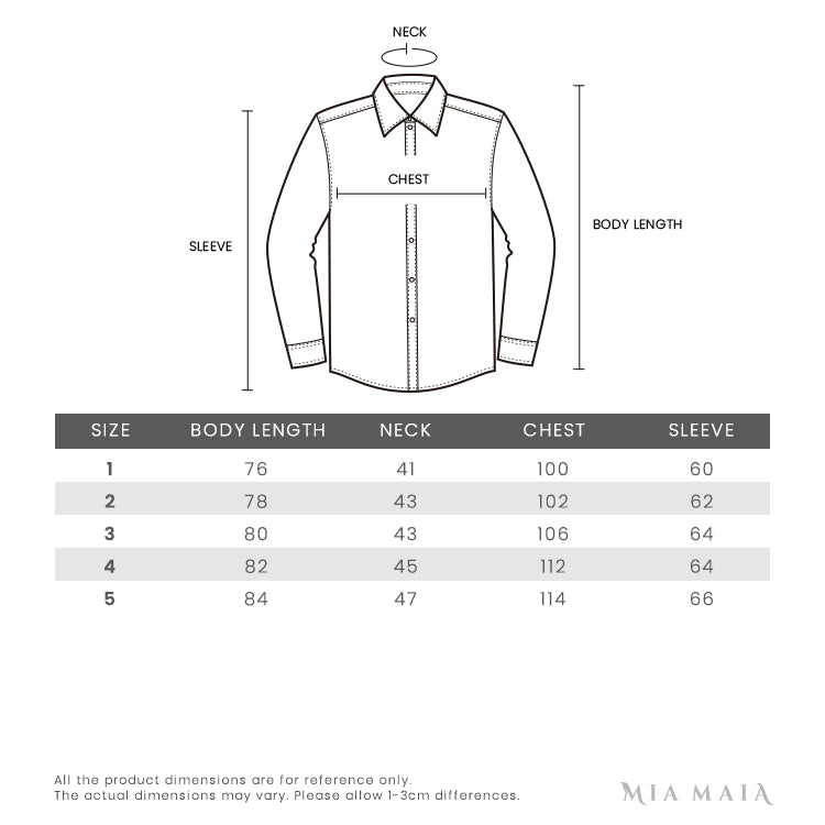 Thom Browne Striped Sleeved Shirt | Size Chart | Mia-Maia.com