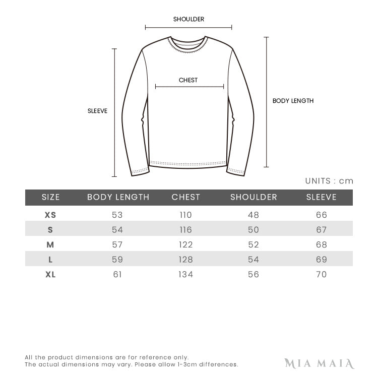 Off-White Arrow Print Cropped L/S Crewneck Sweatshirt | Size Chart