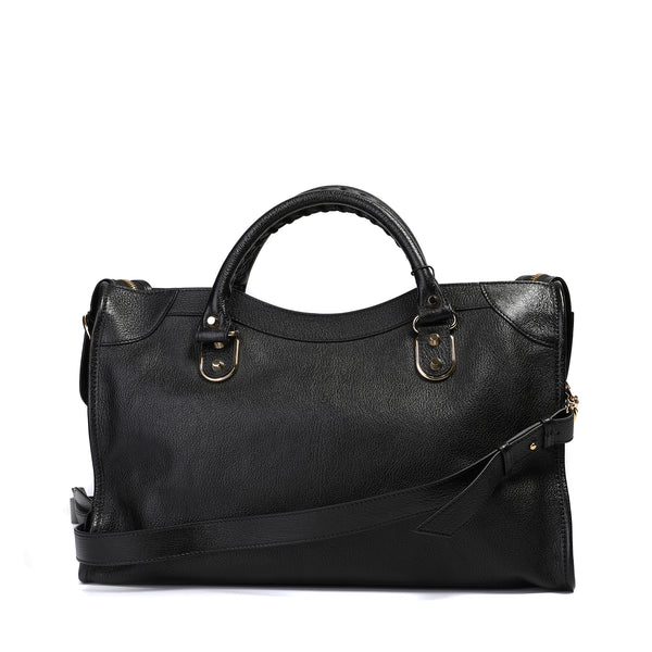 Classic Metallic Edge City Shoulder Bag