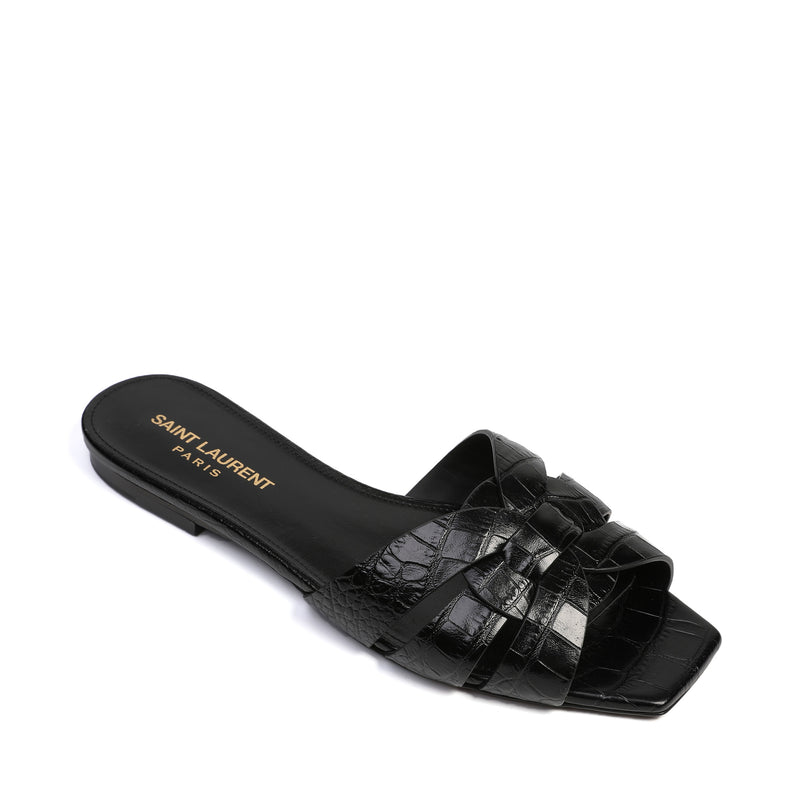 Tribute Flat Sandals in Crocodile Embossed Shiny Leather