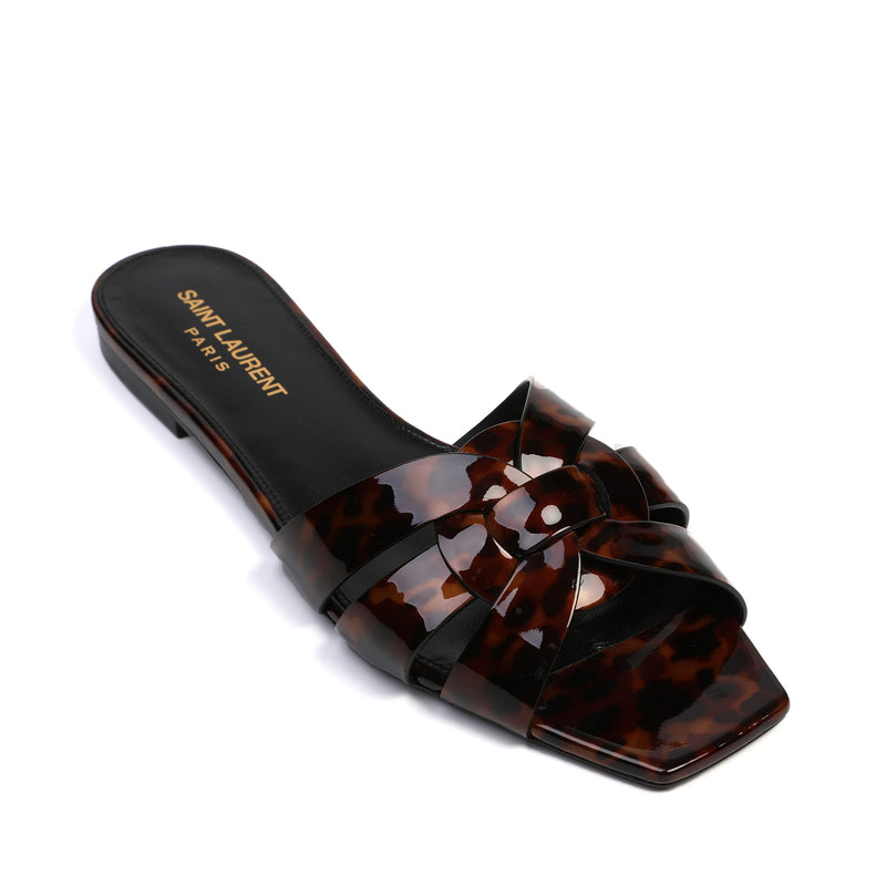 Tribute Flat Sandals in Tortoiseshell Patent Leather