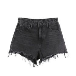 Alexander Wang Vintage Grey Washed Frayed Hem Denim Shorts