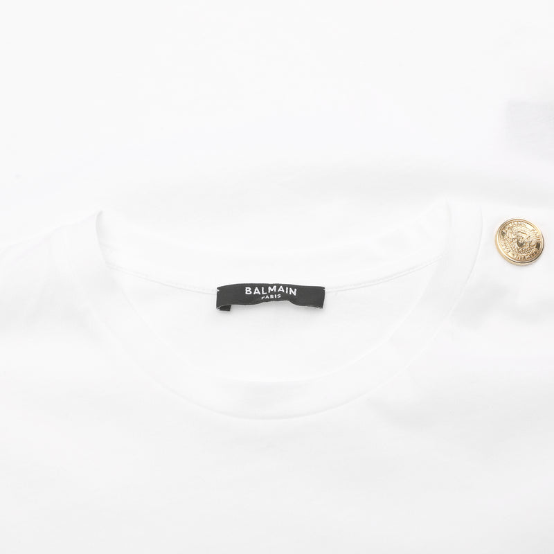 Logo-print button-detail T-shirt