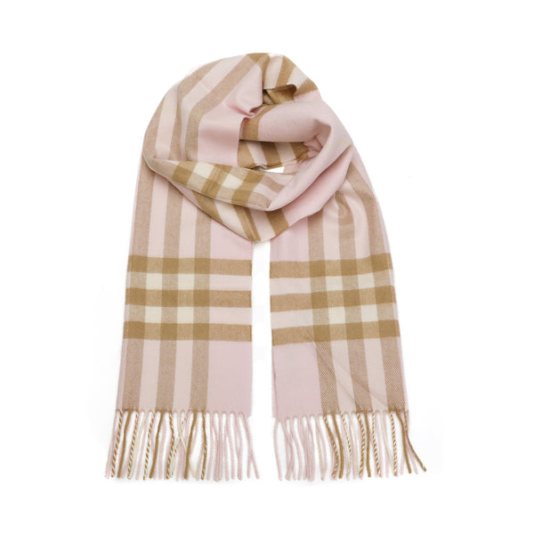 Cashmere Check Scarf in Alabaster Pink
