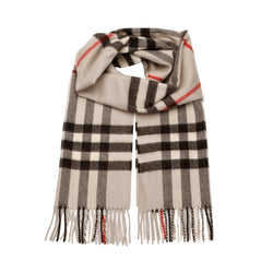 The Classic Check Cashmere Scarf in Stone