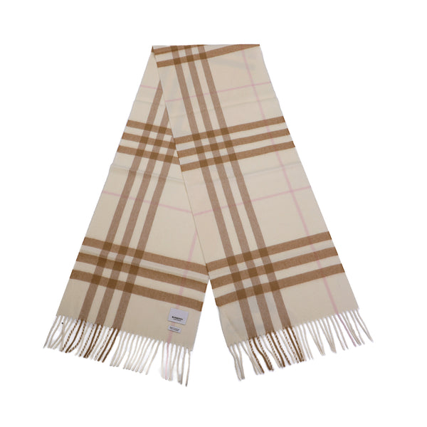 The Classic Check Cashmere Scarf in Alabaster