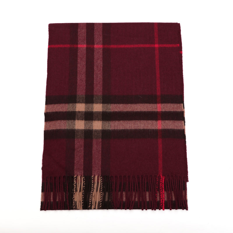 The Classic Check Scarf in Burgundy