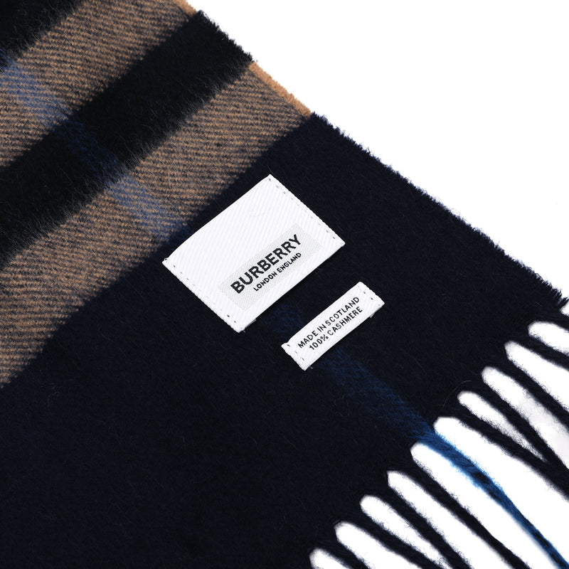 Classic Check Pattern Scarf in Indigo