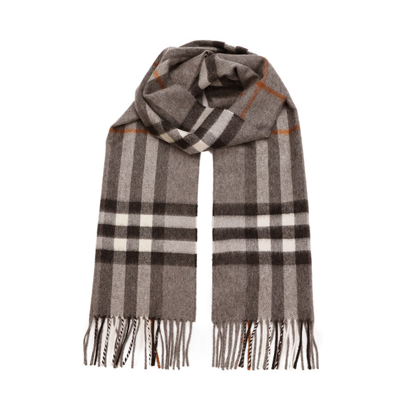 The Classic Check Cashmere Scarf in Grey