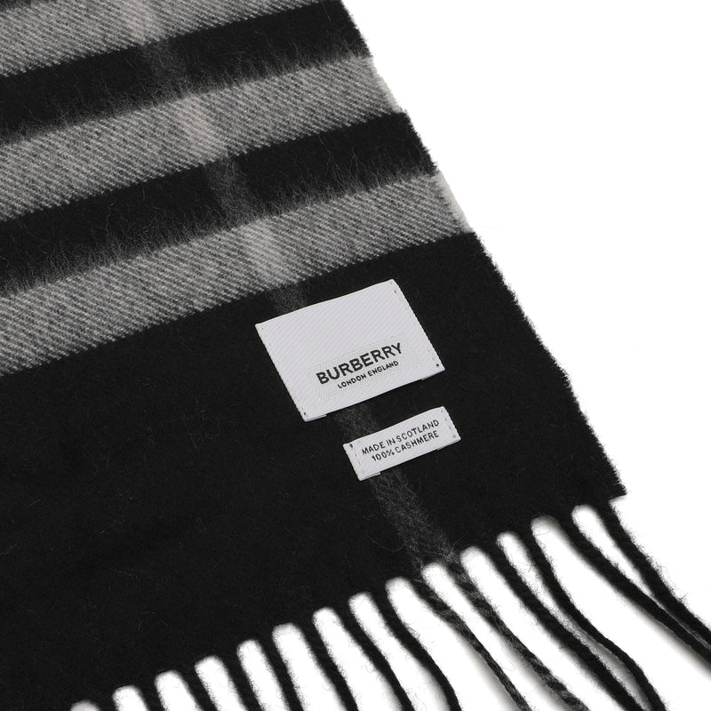 Giant Check Cashmere Scarf in Black