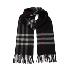 Fringed Check Scarf in Navy