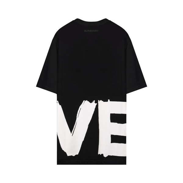 Love Print Oversized T-shirt in Black
