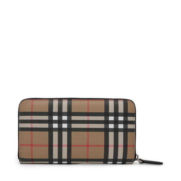 [CLEARANCE] - Men Vintage Check and Leather Ziparound Wallet
