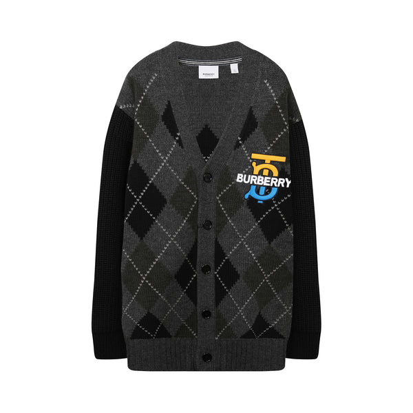 Embroidered logo argyle cardigan
