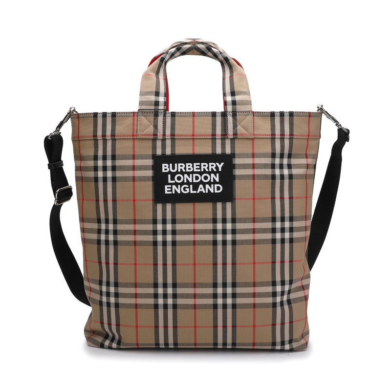 Logo Appliqué Vintage Check Cotton Blend Tote