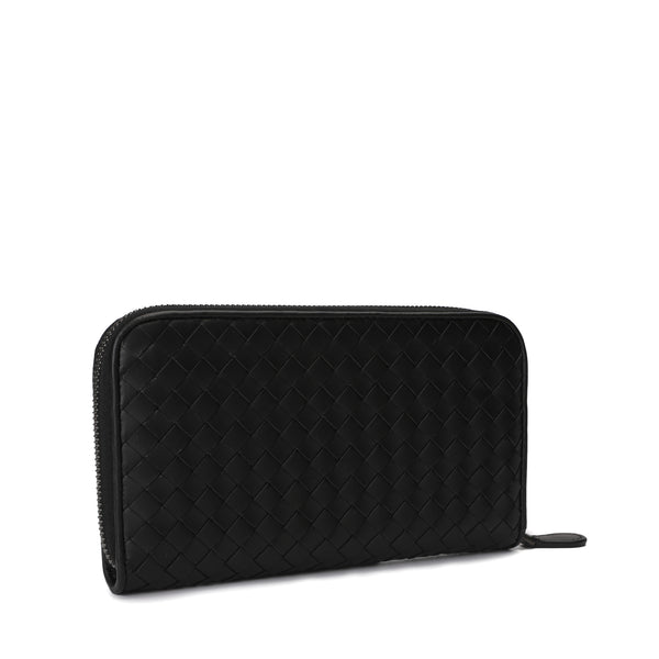 Intrecciato Weave Zip-Around Wallet
