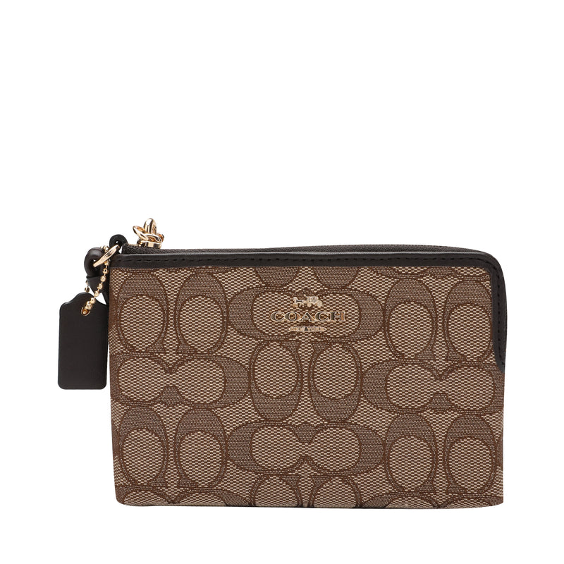 Coach Corner Zip Wristlet in Signature Jacquard Canvas