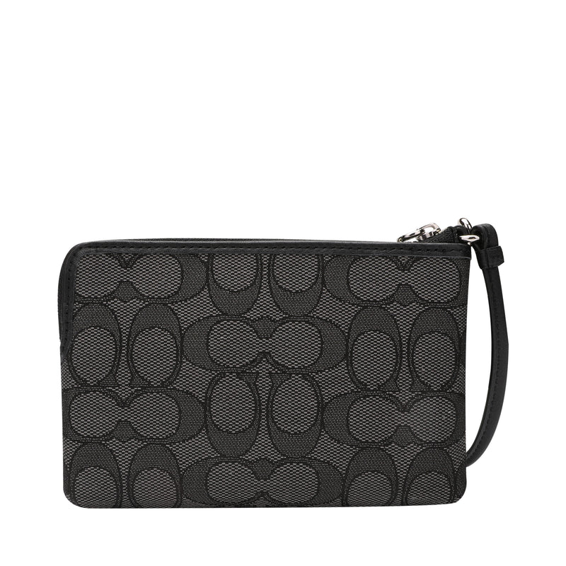 [CLEARANCE] - Corner Zip Wristlet in Signature Jacquard Canvas