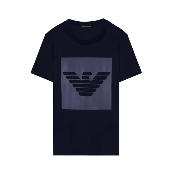 Cotton interlock jersey T-shirt with eagle print