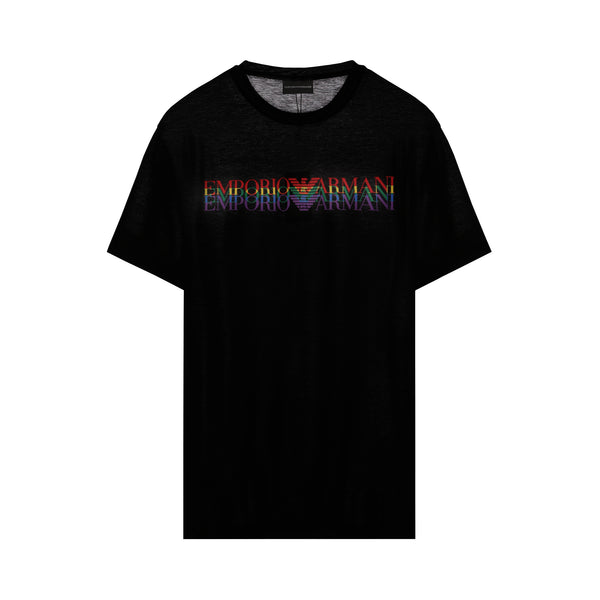 Rainbow long logo printied T-shirt