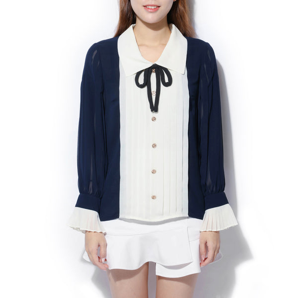 [CLEARANCE] - Blue and White Drape Detail Blouse