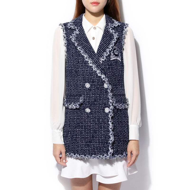 [CLEARANCE] - Long Sleeveless Tweed Gilet