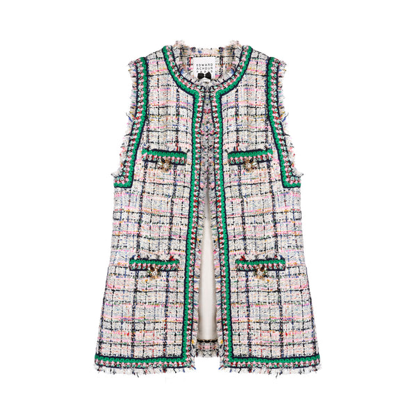 Edward Achour Long Round Neck Sleeveless Tweed Gilet