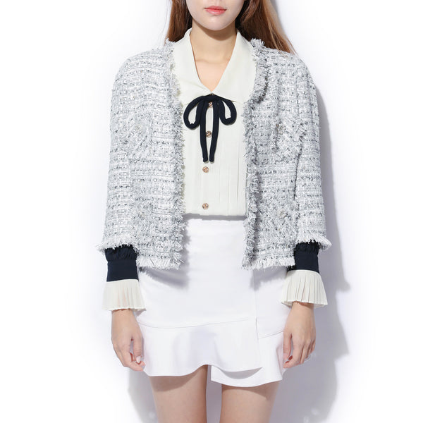 [CLEARANCE] - Crop Tweed Jacket