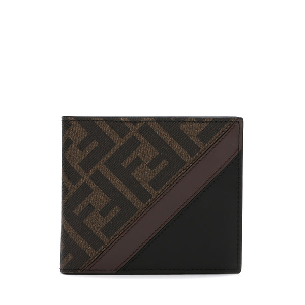 Fendi Brown fabric bi-fold