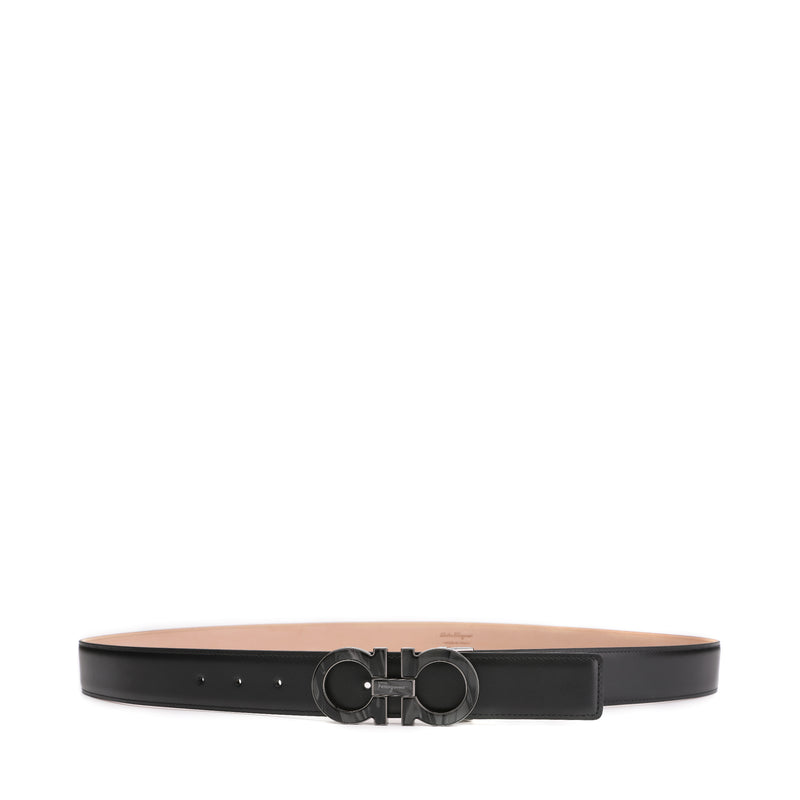 Salvatore Ferragamo Ruthenium and Marbel Color Gancini Leather Belt