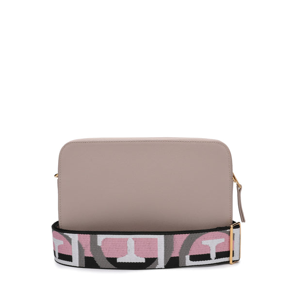 [CLEARANCE] - Brava Crossbody Bag S in Textured Leather with Logo Ribbon Fabric Shoulder Strap