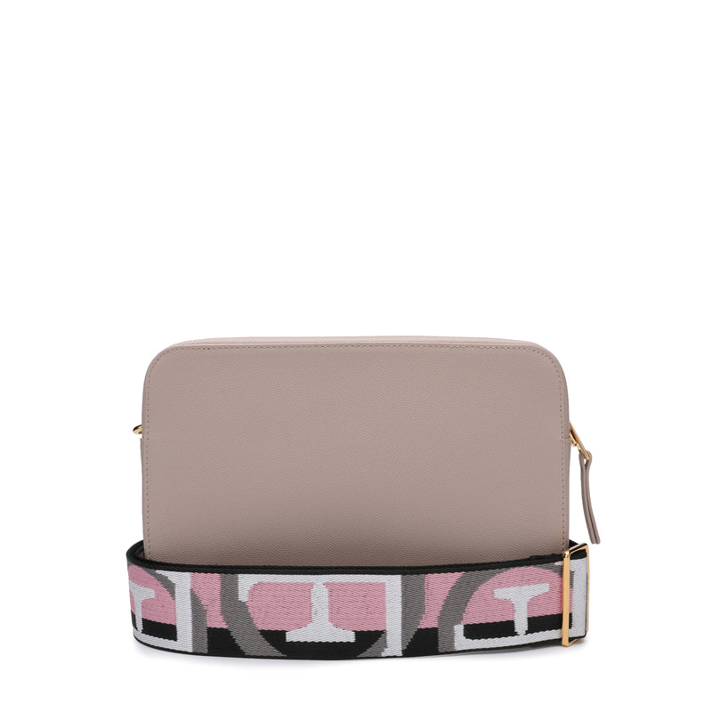 Brava Crossbody Bag S in Textured Leather with Logo Ribbon Fabric Shoulder Strap