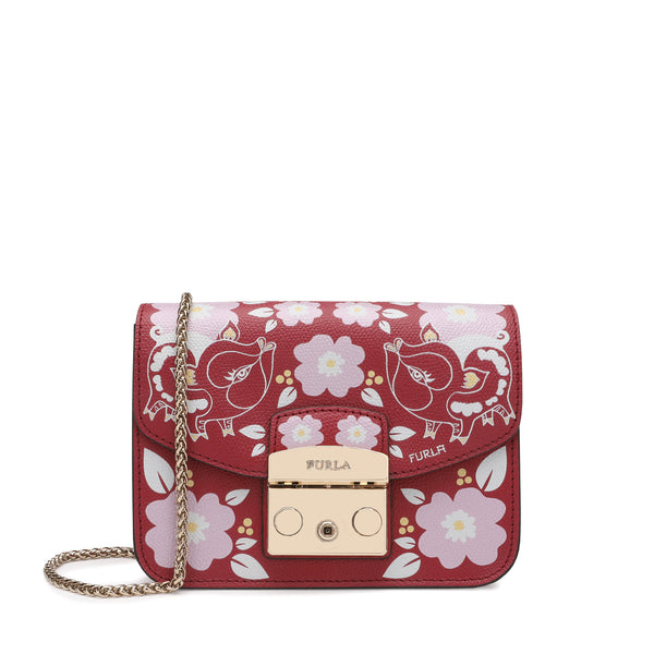 Furla Metropolis Mini Crossbody Bag in Textured Leather with Print