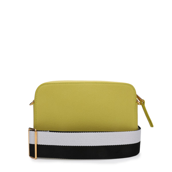 [CLEARANCE] - Brava Mini Crossbody Bag in Textured Leather with Bicolor Ribbon Fabric Shoulder Strap